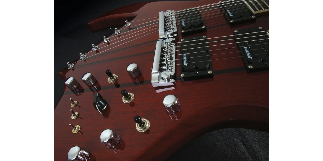 B.C Rich Bich Doubleneck in Transparent Red With Case