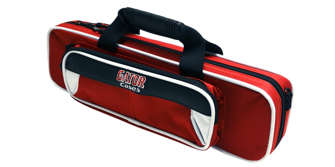 Lightweight Flute Case White and Red