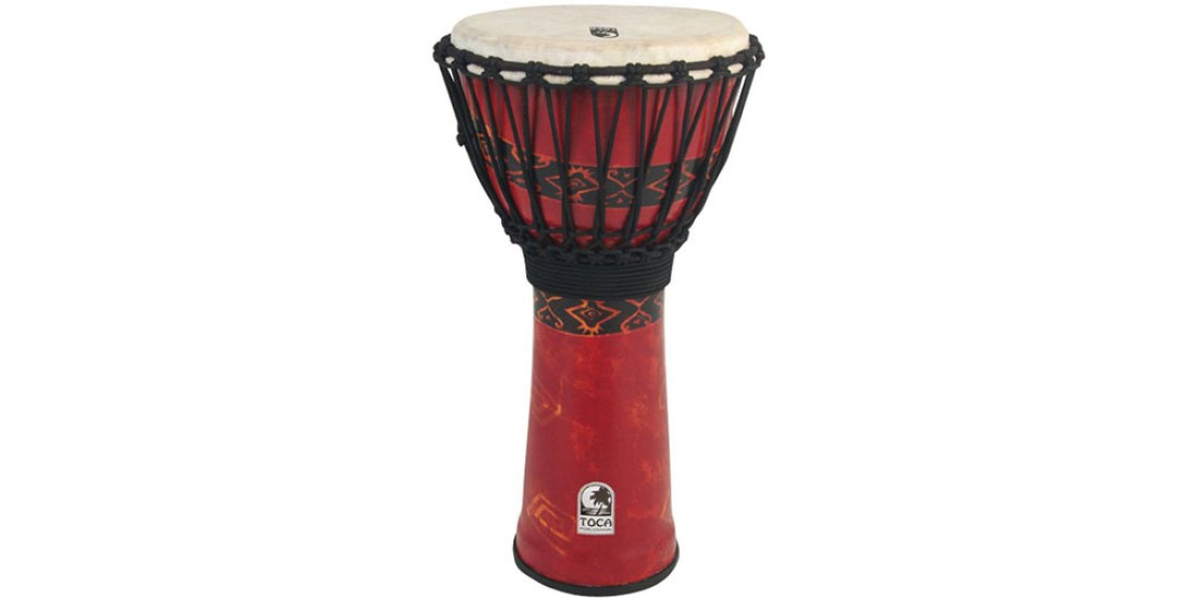 Toca Synergy Freestyle Djembe Rope Tuned 12 inch Woodstock Bali Red