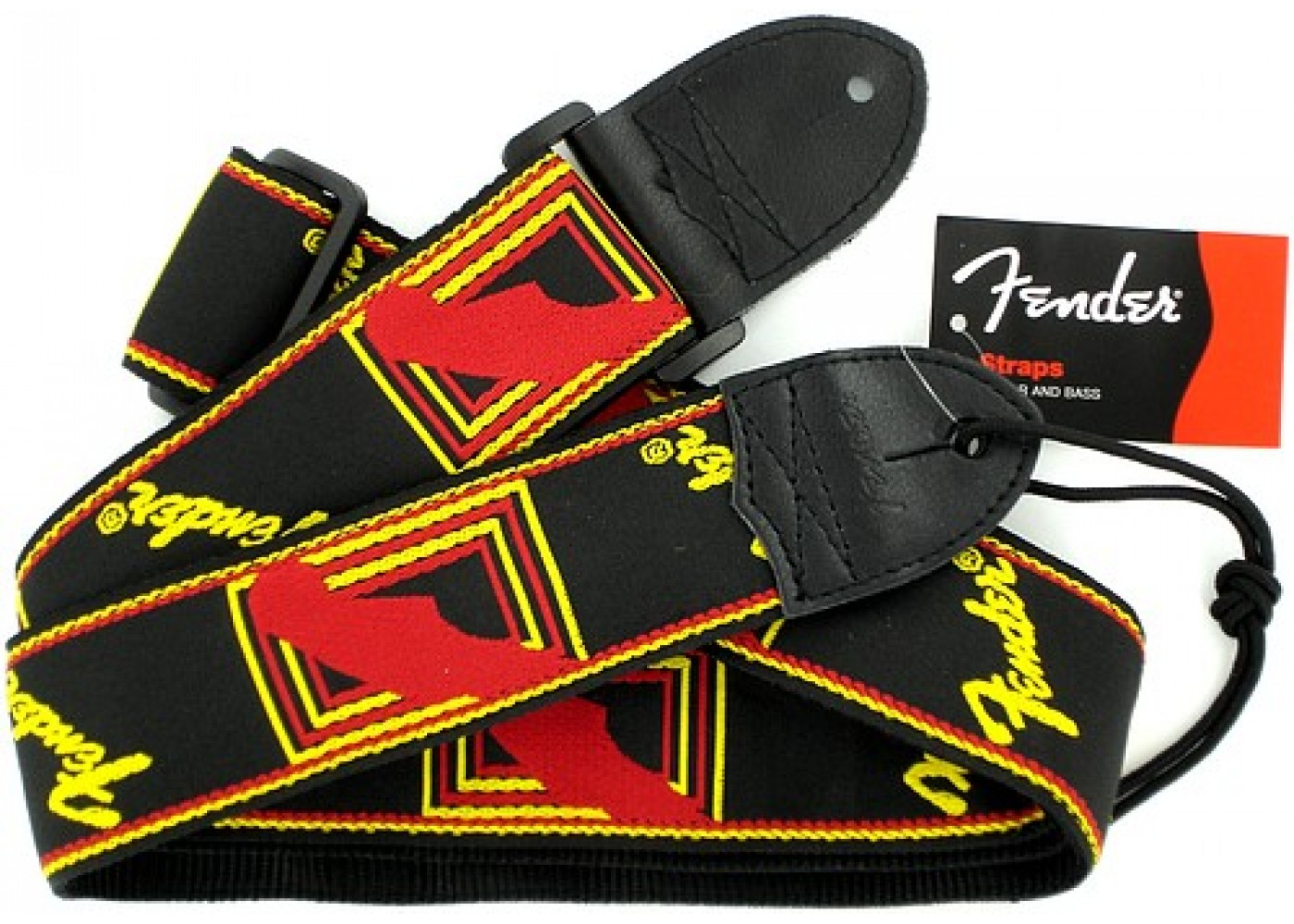 """Fender 2/"""" Monogrammed Guitar Strap Black Yellow and Red"""