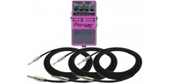 Boss BF3 Flanger Pedal Bundle with Three EXO CG10 Guitar Cables