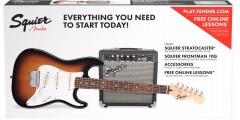 Fender Squier Short Scale Stratocaster Electric Guitar Package Brown Sunbur