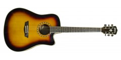 Washburn WD10SCEATB Acou Elect Guitar  Solid Spruce Top Tobacco Burst