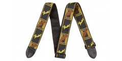 Fender 2 Inch Monogrammed Black Yellow Brown Guitar Strap