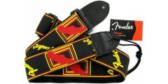 Fender  2  Inch  Monogrammed  Black  Yellow  Red  Guitar  Strap
