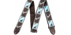 Fender 2 Inch Monogrammed Black Light Grey Medium Blue Guitar Strap