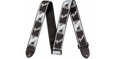 Fender 2 Inch Monogrammed Black Light Grey Dark Grey Guitar Strap