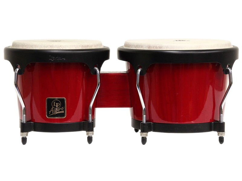 Lp Latin Percussion Aspire Wood Bongos Red Red Stain (6 3/4 & 8 inch)