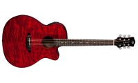 Luna Gypsy Quilt Ash Trans Red Acoustic/Electric G..