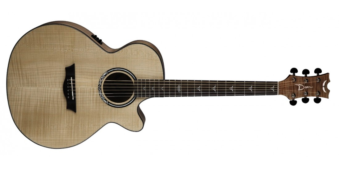 Dean PE-UFM-GN Performer Ultra Acoustic Electric Flamed Ash Top Aphex Aural Exciter Electronics Gloss Natural