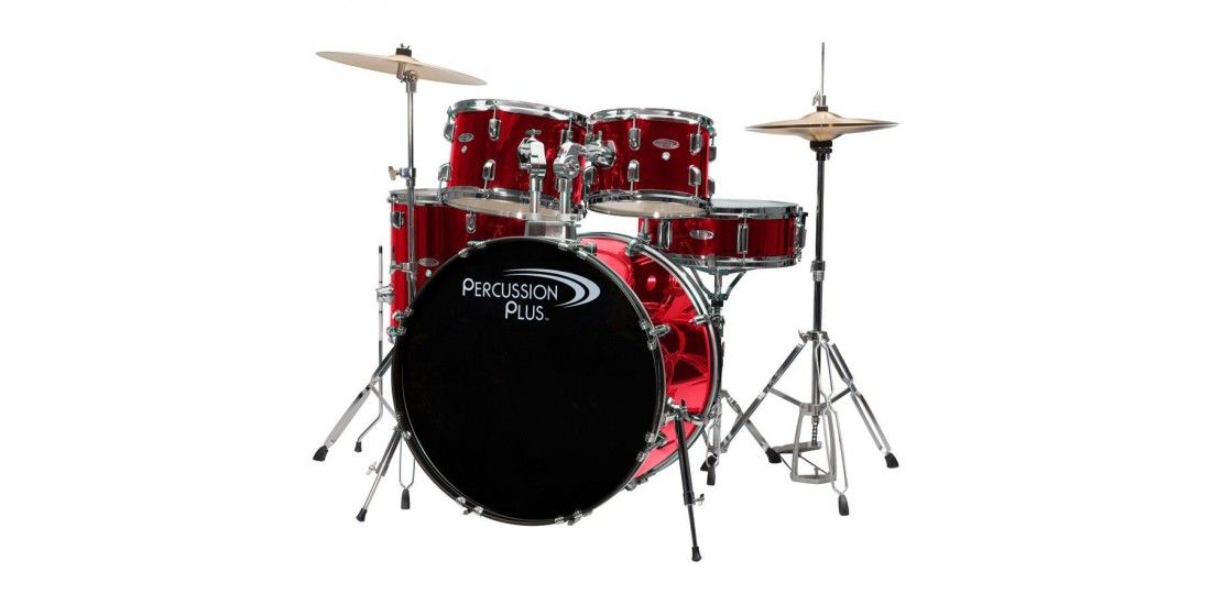 Percussion Plus PP5 5 Piece Drum Set with Hardware Cymbals and Throne Brushed Red Finish