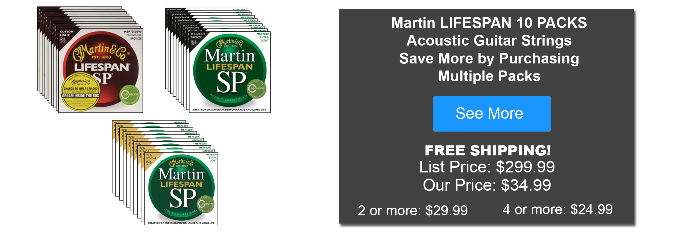 Martin Guitar Strings 10 Packs